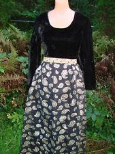 Vintage 60s 70s Dress Black Velvet Maxi Long Gold Trim Paisley Xs S