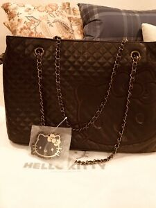 HELLO KITTY Sanrio Brown Quilted Leather Tote Handbag w/double Handle Chains-NWT