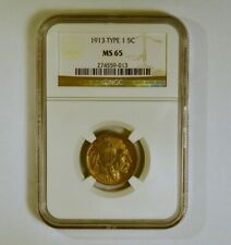1913 Type 1 Buffalo Nickel from the Philadelphia Mint graded MS65 by NGC