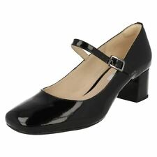 Clarks Patternless Patent Leather Mary Jane Heels for Women