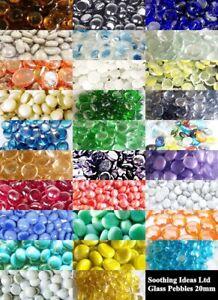 100 Glass Pebbles 20mm Home Wedding Mosaic Garden Memorial 27 Colours (app 450g)