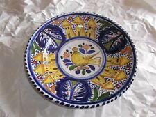 "Vintage SANGUINO Pottery Wall Plate, Spain, Bird & Towers, Multi Color, 12.25"" D"