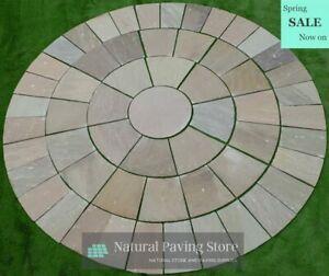 Raj Green Sandstone paving Circle 3 meter diameter natural patio stone