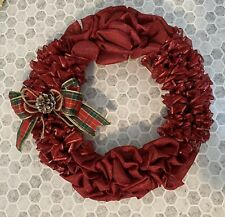 Christmas Wreath With Red Burlap & Sparkly Ribbon New & Handmade