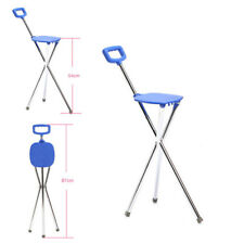 Folding Lightweight Aluminium Cane with Seat Mobility Walking Stick tripod stool