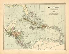 1902 Map ~ The West Indies & Central America States ~ Cuba Jamaica Costa Rica