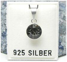 NEU 925 Silber KETTENANHÄNGER 8mm SWAROVSKI STEIN black diamond/schwarz ANHÄNGER