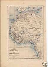 Antique lithography landkaart map West Africa 1875