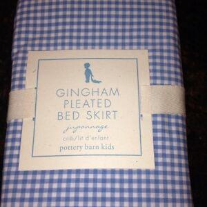 New Pottery Barn Kids Blue Gingham Pleated Cribskirt Crib Bedskirt