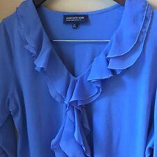 JONES NEW YORK Blue Knit Top - Ruffle V-Neck Women's Plus Size 2x
