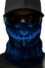 MOTORCYCLE FACE MASK - STITCHED UP FACE BLUE NEON - (Moto, Hunting, Fishing)
