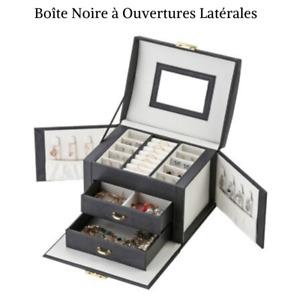 Boîte à Bijoux coffret Cuir PU avec Miroir Rangement à Compartiments et Tiroirs