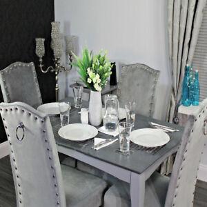 Velvet Dining Chairs, Kitchen, Knocker, Plush, Studs, Knockerback, Chrome Studs