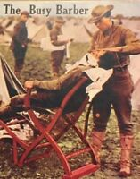 Postcard, 1925 Busy Barber Soldier, Army, War Camp, Vintage London England P33
