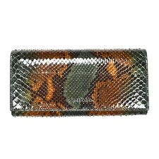 NWT $1k+ TOM FORD Green Brown Exotic Python Snake Leather Long Wallet AUTHENTIC