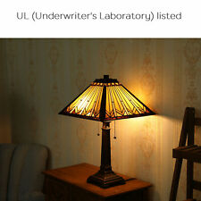 2-Light Tiffany Style Lamp Art Glass Geometry Shape Table Lamp UL Listed.