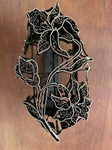 "COPPER TJAP CAP CHOP STAMP FLOWER---- 6"" x 4"" BATIK INDONESIA ART BLOCK HANDMADE"