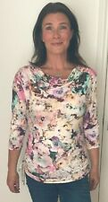 Ladies Designer Italian Jersey Cowl Neck Top Ruched Sides Size 14