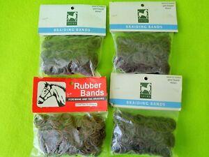 4 Packs 500~2000 BROWN Elactic Rubber Band MANE~Tail Braid Braiding BANDS & COMB