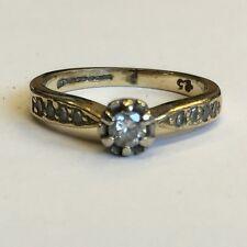 Vintage 9ct Solid Gold Solitaire Diamond Diamond Set Shoulders Ring Size H1/2