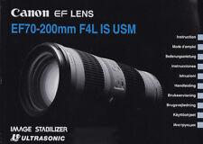 Canon manuale per obiettivo EF 70-200mm f/4, 0 L IS USM-ISTRUZIONI # K