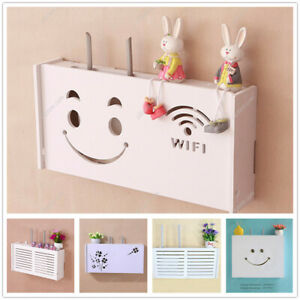 Wooden WiFi Router Storage Box Wall-Mounted TV Cabinet Shelf Set-Top Box White