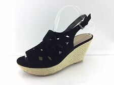 Via Spiga Women's Black Leather Wedges 8.5 M