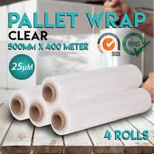 4 Rolls 500mm x 400m 25um Clear Stretch Film Pallet Carton Wrap for packaging