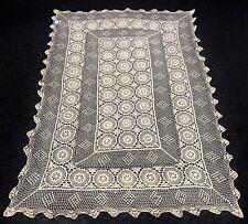 """Beige 100% Cotton Handmade Fine Crochet Lace 54x72"""" Tablecloth Vintage Rectangle"""