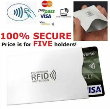 5 x Contactless Credit Card RFID Blocking Defenders Quality Sleeve Holders R1