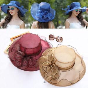 Elegant Lady Kentucky Derby Hats Church Wide Brim Organza Wedding Tea Party Hats