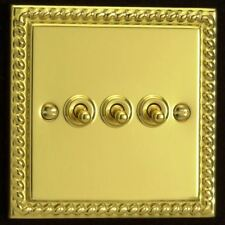 Varilight 3 Gang 10A 1 or 2 Way Dolly Toggle Light Switch Georgian Brass Finish