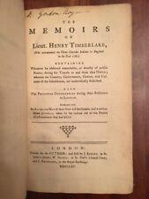 RARE 1765 Memoirs Henry TIMBERLAKE, Cherokee Indians War, TENNESSEE, GEORGIA 1st