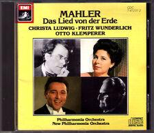 Otto KLEMPERER: MAHLER Das Lied von der Erde CD Christa LUDWIG Fritz WUNDERLICH