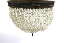 Deckenlampe Frankreich um 1900 Rund Kristall Glas auf Draht