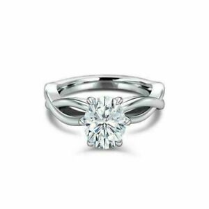 Split Band Solitaire Engagement Ring 1.5ct Oval Cut Diamond 14k SOLID White Gold
