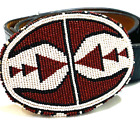 Vintage Native American Sioux Hand Beaded Belt Buckle 4.5 in. & Belt -Signed