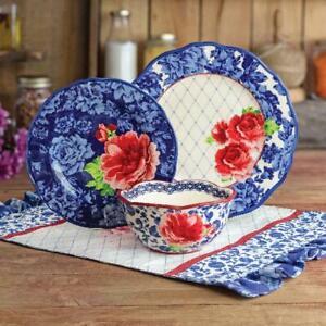 The Pioneer Woman Heritage Floral 12-Piece Dinnerware Set Blue
