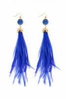 Sapphire Blue Druzy Stone Ostrich Feather Earrings