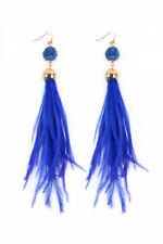 Sapphire Blue Druzy Stone Ostrich Feather Earrings