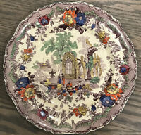 Antique Mason's Ironstone Mulberry Transfer Plate W/ Hand Painting Exc Condition
