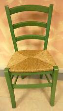 Sedia in legno massello e paglia per cucina sala da pranzo bar moderna verde