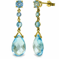 Natural Blue Topaz Briolette Round Gemstones Drop Dangle Earrings 14K Solid Gold