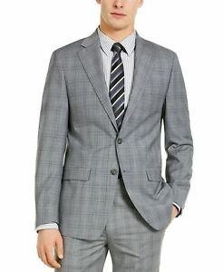 Calvin Klein X Slim Fit Light Grey / Blue Plaid Wool Suit Jacket 42R