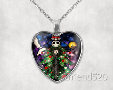 Cabochon Glass Heart Pendant Necklace#13 Nightmare Before Christmas Tibet Silver