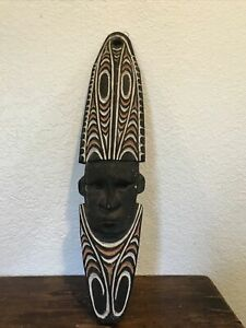 Tribal  Wooden Mask Hand Carved Painted Wall Hanging African Wall Decor
