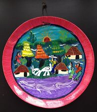 Colourful Handpainted Plate Traditional Japanese Chinese Koi Fish Goat Sun Hut
