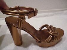 GUCCI nappa silk gold heels shoes ankle strap retail $700+ BEAUTIFUL SZ 38/8-NEW