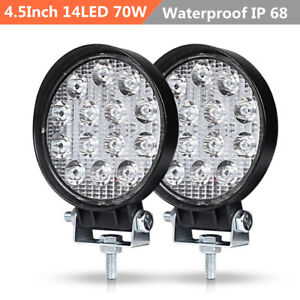 Pair 4.5Inch Round 70W 14 LED Work Light Fog Driving Lamp Offroad SUV Spotlight