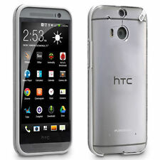 For HTC One M8 Phone Case Cover Slim Clear White Hybrid Protective Rubber Shell